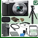 Panasonic Lumix DMC-ZS50 Digital Camera (Silver) + 32GB Greens Camera Bundle 1