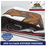 VSVO California Republic Bear State Flag 3 x 5 ft with 2-Sided Embroidered for Outside- Sewn Stripes – Brass Grommets – UV Protection-Californian CA State Flags For Sale