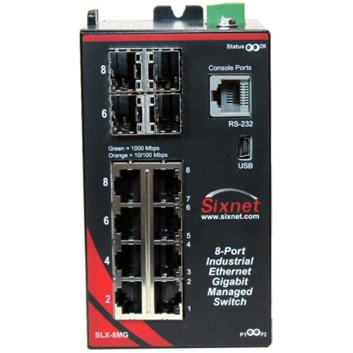 (Sixnet 8 ports; managed; 4 GE RJ45 + 4 GE Combo RJ45/SFP Standard Industrial Ethernet Managed and Ring DIN-Rail Switches. Model: SLX-8MG-1)