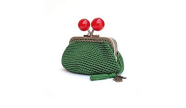 Monedero ganchillo verde oscuro con bolas rojas: Amazon.es ...