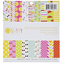 """American Crafts 290509 Imaginisce Single, Sided Paper Pad 6""""X6"""" 36/ Package, Sunny, 24 Designs/1, 2 Each"""