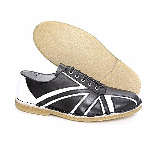 Tommy bianco e nero in pelle scarpe da bowling, suola con crepe Delicious Junction