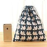 Cheap Irctek Set of 3 Sizes Cotton Travel Storage Bag Drawstring Bags Underwear Toiletries Toys Buggy Bag (White bear)