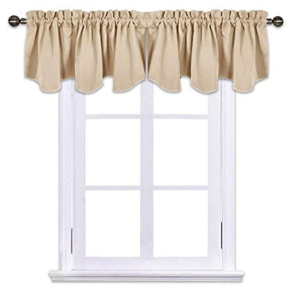 NICETOWN Living Room Blackout Valances - 52 inches by 18 inches Scalloped  Rod Pocket Valance Panels for Nursery/Living Room/Bedroom/Small Window, ...