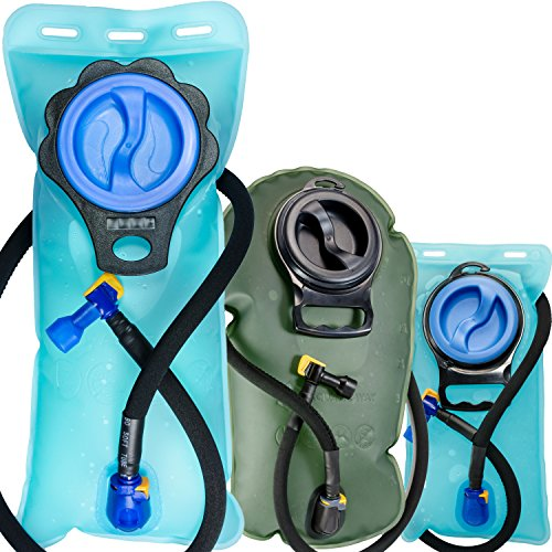 Aquatic Way Hydration Bladder Water Reservoir For Bicycling Hiking Camping Backpack  Non Toxic Bpa Free  Easy Clean Large Opening  Quick Release Insulated Tube W  Shutoff Valve  Blue 2L 2 Liter 70 Oz