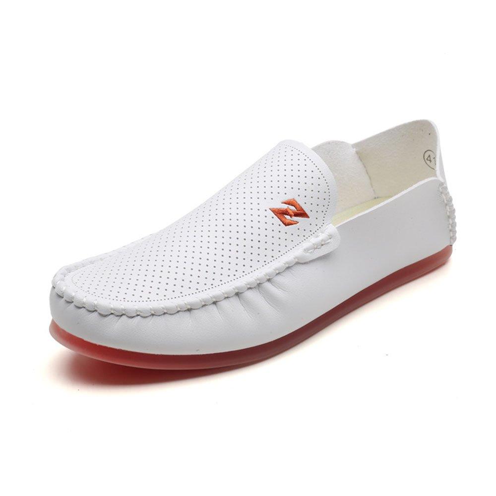Mocasines para Caminar Los Zapatos Ocasionales Cómodos del Frijol Blanco y Negro de los Hombres Casuales del Verano Zapatos Suaves de la Parte Inferior Respirable Zapatos de Barco 39 1/3 EU|Blanco