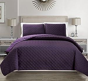 Embossed Purple Reversible Bedspread/Quilt Set Cal King