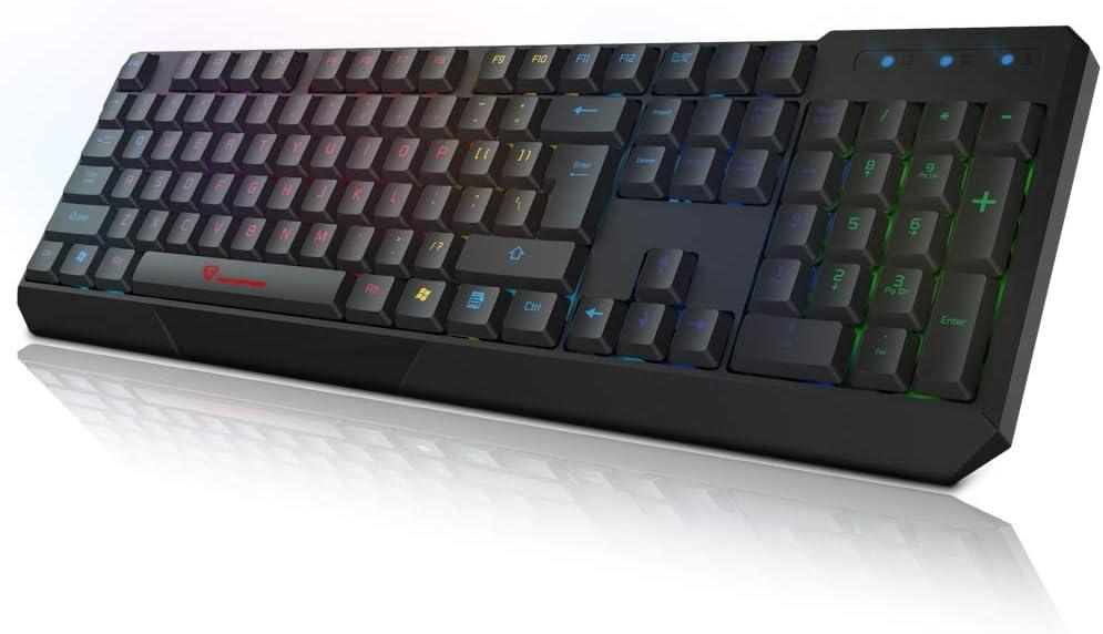 MOTOSPEED USB Wired Keyboard Waterproof LED Rainbow Backlight 104 Keys Illuminated Gaming Keyboard for PC,Laptop,Computer Black