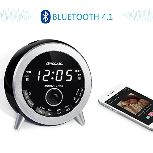 ROCAM Bluetooth Digital Alarm Clock Radio with FM Radio, Dual Alarm, Snooze, Night Light, LED Display with Dimmer, USB Charger, Sleep Timer, Battery Backup and AUX-IN for Bedroom, Kitchen, Desk, Kids