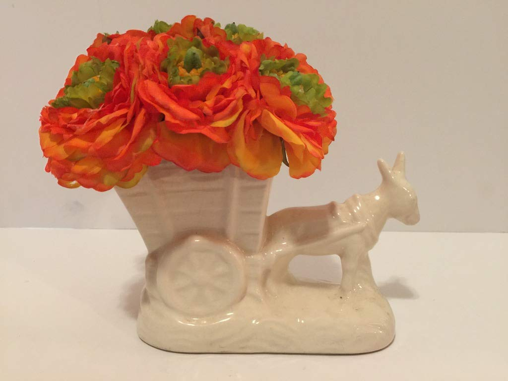 ANIMAL FUN - WHITE BURRO PULLING CART VASE 2 - ORANGE AND GREEN PEONIES - DONKEY - UNIQUE GIFT - ANY OCCASION