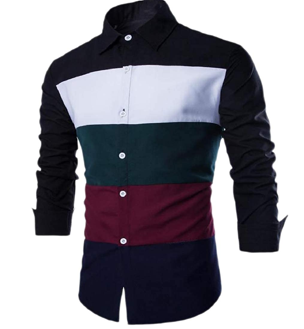 Howme Mens Shirt Assorted Colors Button Striped Comfy Blouse Tops