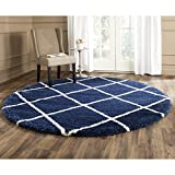 Safavieh Hudson Shag Collection SGH281C Navy and Ivory Round Area Rug, 7 feet in Diameter (7' Diameter)