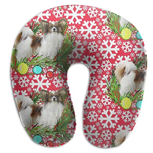 MenZhon Dog Papillon Christmas Comfortable U-Shape Pillows Travel Neck Pillow,Stops The Head from Falling Forward- Comfortably Supports The Head, Neck and Chin in Any Sitting Position