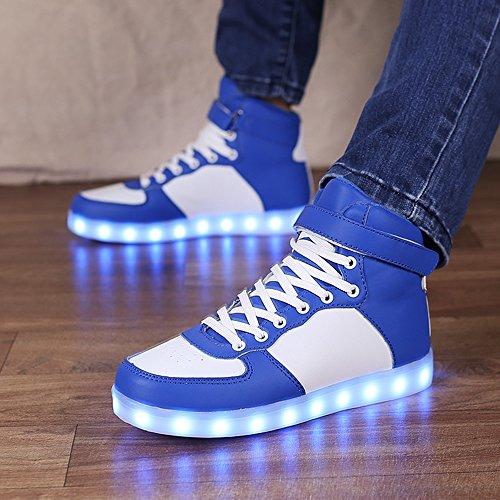 Idea Cornici Kid Ragazza Ragazza Usb Ricarica Multi-colore Led Light Up Sneakers Blu Alto