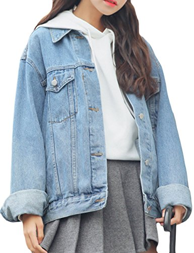 Oversized Denim - sandbank Women's Loose Fit Long Sleeve Button Boyfriend Denim Jacket Jean Coat (L, Light Blue)