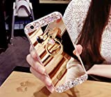 Galaxy Note 4 Case,Galaxy Note 4 Cover,Galaxy Note 4 Mirror Case [Bear Ring Stand Holder] - Ukayfe Luxury Crystal Rhinestone Bling Diamond Glitter Soft TPU Rubber Bumper Case Mirror Makeup Case Flexible Silicone Rubber Anti-Scratch Bumper Protective Case for Samsung Galaxy Note 4, Gold