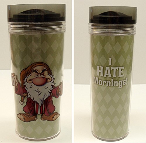 Disney Snow White Grumpy Mornings Travel Coffee Mug Tumbler with Worn Out Grumpy on One Side and the Saying