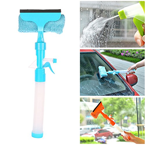 LUCKSTAR Glass Cleaner Wiper - 3-in-1 Windshield Cleaner Brush Glass Wiper Squeegee Washer Cleaner with Microfiber Scrubber Spray Bottle for Window Shower Floor Car Home and Office Glass (Blue) -