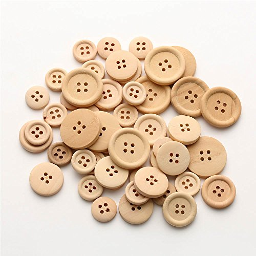 MAXGOODS 150 Pieces Natural Wood Color Handmade Tag Label Mixed Size Round Buttons with 4 Holes Craft Decorations Sew Accessories Scrapbooking Clothing Leather
