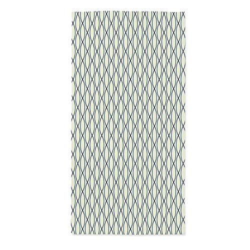 Abstract Fashionable Tablecloth,Vertical Curvy Lines Form Elliptic Shapes Fishing Net Lattice Pattern for Secretaire Square Table Office Table,24''W X 48''L