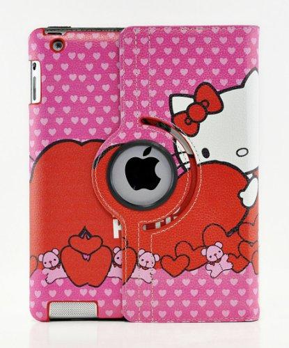 Hello Kitty Design 360 Degree Rotating PU Leather Hard Case for Apple iPad 4 3 2, Mini 2 with Retina and iPad Air (iPad Air, Color 6)