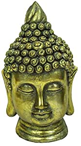 E2E resina gran cabeza de Buda escultura estatua figura decorativa en casa de interior al aire libre jardín decoración, Antique Gold