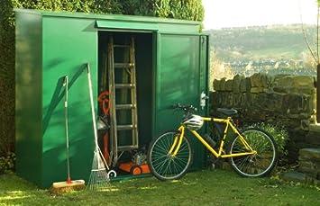 Tall metal caseta de jardín - 7 x 3 ft (embalaje plano) al aire libre seguro de almacenamiento de Asgard: Amazon.es: Jardín