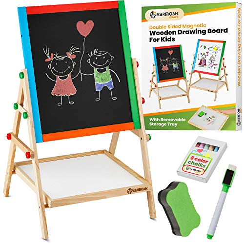 YARMOSHI My First Wooden Drawing Board Easel Double Sided Adjustable | Chalk Blackboard & White Dry Erase Surface, Magnetic Sponge, Marker Pens, Chalks & Bottom Tray | Learning Play for Toddlers! ()