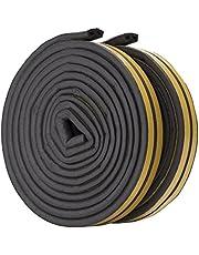 Feelava Afdichtingstape voor deuren en ramen, D-type, zelfklevende rubberen schuimrubberen afdichtstrips, waterdichte weerstrip, 2 rollen, in totaal 10 meter (zwart)