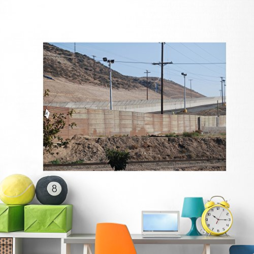 Wallmonkeys Us-Mexican National Border Fence Wall Decal Peel and Stick Graphic WM93164 (60 in W x 42 in H)