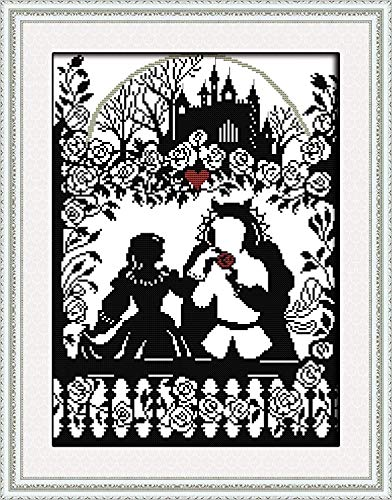 Stamped Cross-Stitch Needlepoint Kits Pre-Printed Patterns for Beginners Adults, Embroidery Cross-Stitching Kit Wall Art Cross Stitch- Fairy Tale Prince and Princess Kits - Fairy Cross Stitch