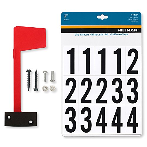 (Mailbox Flag Complete Replacement Kit - Includes Flag, Screws and Number Stickers - Universal Design Works for Brick, Metal, Stone, Wood and All Other Surfaces - Super Easy)