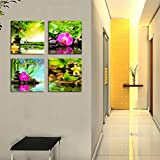 Canvas Art Zen Canvas Prints Spa Wall Decor 4 Panel Canvas Artwork Modern Pictures Framed Ready to Hang - Spa Massage Treatment Red Orchid Frangipani Bamboo Waterlily Black Stone in Garden