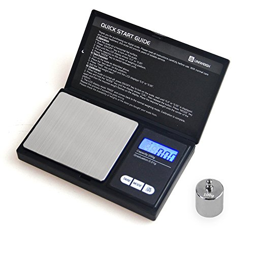 UNIWEIGH 200G0.01G Digital Precision Scales for Gold Jewelry Scale 0.01 Pocket Balance Electronic Stainless Steel Scales with 100G Calibration Weight