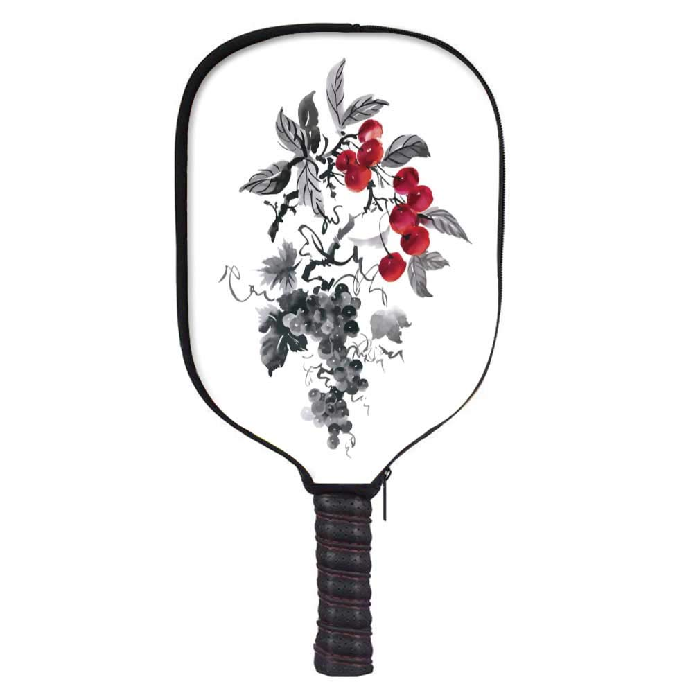 MOOCOM Rowan Fashion Racket Cover,Rural Nature Inspired Artistic Foliage Composition Wild Berry Plant with Leaves for Playground,8.3'' W x 11.6'' H