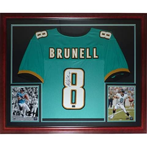 Mark Brunell Autographed Jacksonville Jaguars (Teal #8) Deluxe Framed Jersey - Deluxe Framed Jersey