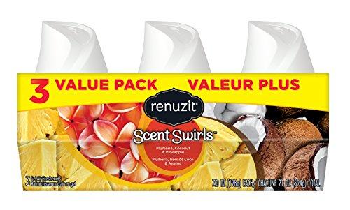 Renuzit Scent Swirls Air Freshener Gel, Plumeria, Coconut & Pineapple, 7 Ounces (3 Count)