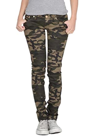 f7f148d5e4bf5 Army camouflage skinny stretch jeans - dark green: Amazon.co.uk ...