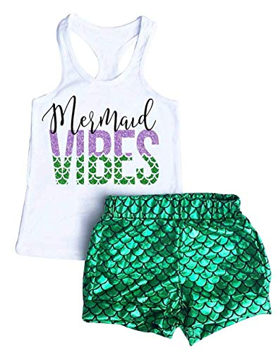Baby Girls 2Pcs Summer Mermaid Vibes Letter Printed Vest Tops Short Pant Sets (Little Mermaid Outfit For 1 Year Old)