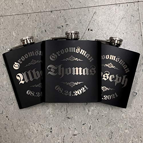 Personalizedgiftland Personalized Flask, Set Of 6 - Customized Flask Groomsmen Gifts For Wedding Favors, Personalized Groomsman gift - Stainless Steel Engraves Flasks w Gift Box Options - 6oz, Black by PersonalizedGiftLand (Image #9)