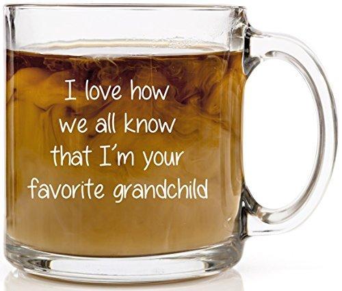 I'm Your Favorite Grandchild Funny Coffee Mug Perfect Christmas Gift for Grandma & Grandpa 13 oz Clear Glass Cup