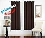 SoftyDeco Thermal Blackout Curtains Grommet Top Antique Bronze 8 per Panel / Room Darkening Window Panels for Bedroom / Insulated Drapes (54 inch wide x 63 inch long each) 2 Panels, black coffee