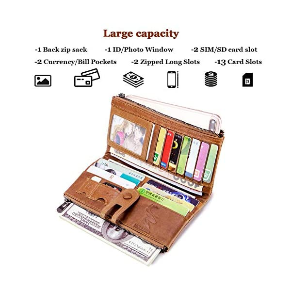 ROULENS Wallet for Women Genuine Leather Card Holder Phone Checkbook Organizer Zipper Coin Purse