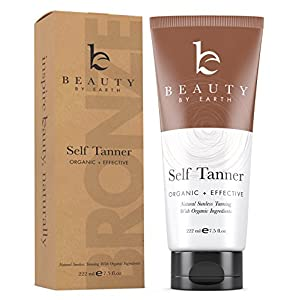 Self Tanner - Organic and Natural Ingredients Sunless Tanning Lotion and Best Bronzer Golden Buildable Light, Medium or Dark Gradual Tan for Body and Face 7.5 oz