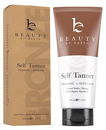 Self Tanner - Organic and Natural Ingredients Sunless Tanning Lotion and Best Bronzer Golden Buildable Light, Medium or Dark Gradual Tan for Body and Face 7.5 oz (Body Bronzer Best)