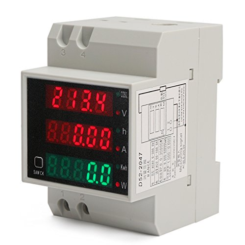 DROK DIN Rail Digital Multimeter AC Voltmeter Ammeter Power Energy KWh Meter Power Factor Accumulation Time Monitor Multifunction Meter