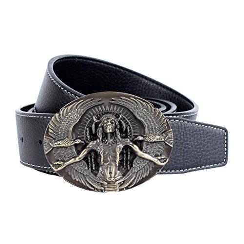 Warrior Buckle Belt (Baosity Indian Warrior Chief Belt Buckle Biker Motorcycle Fiber Leather Jeans Belt Cowboy Decorations - Black)
