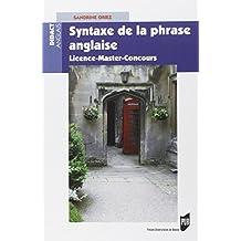 Syntaxe de la phrase anglaise. Licence Master Concours