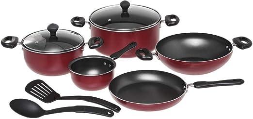 طقم أواني الطهي من الألومنيوم مضادة للالتصاق من بريستيج، مكون من 9 قطع – أحمر