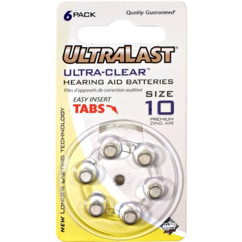 - ULTRALAST 10 Zinc Air-Activated Hearing Aid Battery 6-Pack
